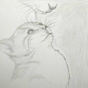 croquis crayon d'un chaton et sa mère - Dessin traditionnel au crayon par Kokoreth